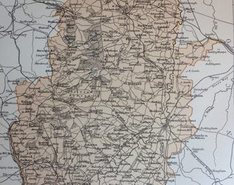 1875 Nottinghamshire Original Antique Map - England - UK County - Vintage Wall Map - Nottingham - Available Framed