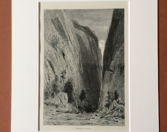 1895 Umpqua Canyon Original Antique Wood Engraving - Mounted and Matted - Oregon - Decorative Art - Available Framed