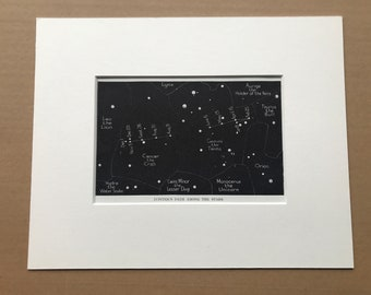 1923 Jupiters path among the Stars Original Antique Print - Astronomy - Mounted and Matted - Available Framed