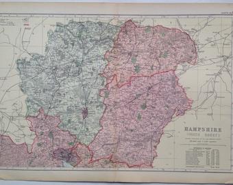 1896 HAMPSHIRE (North Sheet) Large Original Antique Map - Northern Hampshire - UK County - England