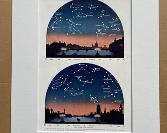 1923 August Stars over London Original Antique Print - Mounted and Matted - Available Framed - Astronomy - Star Map