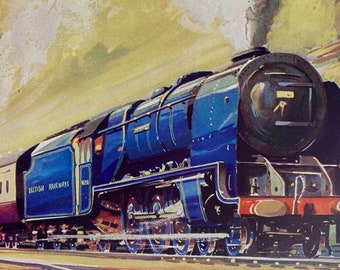 1953 The London-Glasgow Express hauled by Class 7 462 Locomotive Original Vintage Print - Railway - Mounted and Matted - Available Framed
