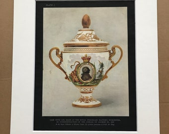 1938 Vase with Lid made at the Royal Porcelain Factory Worcester Original Antique Print - Silhouette - Mounted and Matted - Available Framed