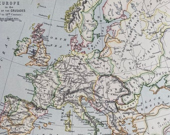1875 Europe in the time of the Crusades (11th to 13th Century) Original Antique Map