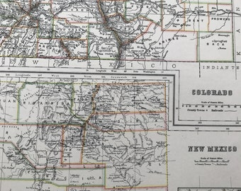 1898 Colorado and New Mexico Large Original Antique A & C Black Map - United States - Victorian Wall Decor - Wedding Gift Idea