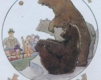 1919 Bears Original Vintage Margaret W. Tarrant Illustration - Animal Art - Available Framed - Nursery Decor - Children's Book