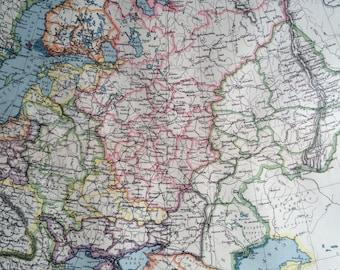 1903 Russia in Europe & The Caucasus Large Original Antique Map, 15.5 x 20.5 inches, Harmsworth map, Baltics, Lithuania, Latvia, Estonia
