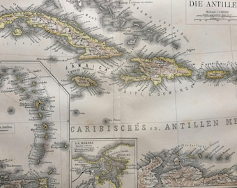 1877 The Antilles Large Original Antique Map with inset maps of lesser Antilles and Havana - Available Mounted and Matted - Wall Decor