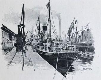 1894 Loading in Pomona Dock, Manchester Original Antique Print - Available Framed