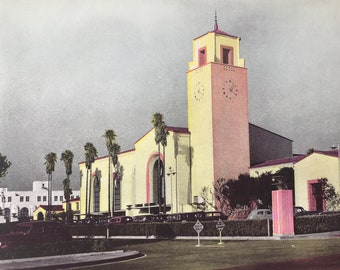 1945 Union Station, Los Angeles Original Vintage Photo Print - LA - California - Retro Decor - Available Framed