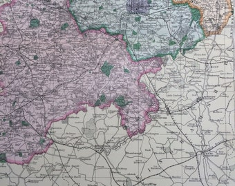 1907 NORTHAMPTONSHIRE Set of 2 Large Original Antique Maps 20.5 x 13.5 inches each, historical wall decor, George W Bacon maps