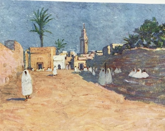 1904 Street in Marrakesh - Morocco Original Antique Print - Moroccan Landscape - Morocco - Mounted and Matted - Available Framed