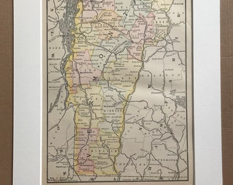 1891 Vermont Original Antique Map - US State - United States - State Map - Vintage Decor - Available Framed