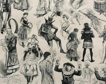 1883 Original Antique Engraving - Some Costumes at the Ball - Victorian Decor - Victorian Fashion - Period Fashion