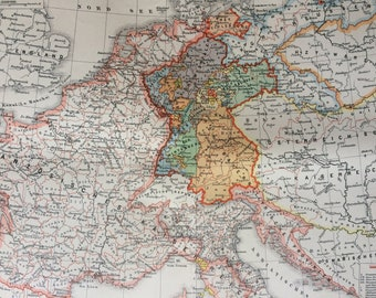 1894 Central Europe at the beginning of the wars of liberation 1813 Original Antique Map - Available Mounted and Matted - German History