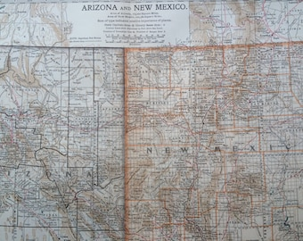 1903 ARIZONA & NEW MEXICO Original Large Antique Map - Wall Map - Home Decor - Cartography - 11 x 16 Inches - Detailed Map - Geography