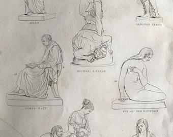 1858 Sculpture (Modern) Original Antique Engraving - Hebe, Canova's Venus, James Watt, Michael & Satan, Beneficience - Available Framed