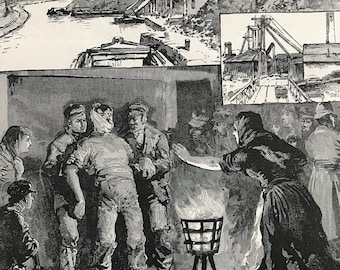 1883 The Colliery Explosion near Accrington Original Antique Engraving by Louis Wain - Mounted and Matted - Lancashire - Mining