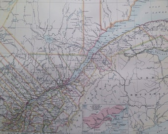1875 QUEBEC large original antique map, cartography, geography, wall decor, home decor, encyclopaedia britannica