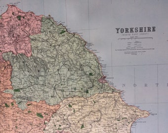 1868 Yorkshire (Northeast) shire Large Original Antique Map showing railways, roads & parliamentary divisions - UK County - Wall Map