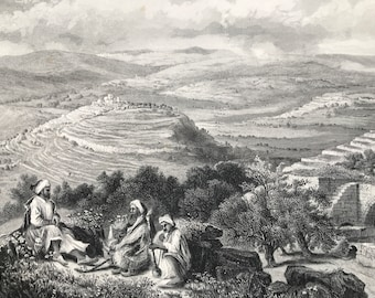 1880 View from Neby Samwil Original Antique Engraving - Palestine - Nabi Samwil - Mounted and Matted - Available Framed