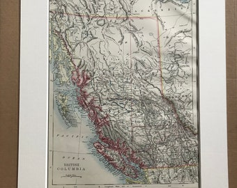 1899 British Columbia Original Antique Map - Canada - BC - Vintage Wall Map - Gift Idea - Available Matted and Framed