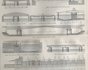 1897 Bridges Large Original Antique Print - Available Mounted and Matted - Civil Architecture - Engineering - Vintage Wall Decor
