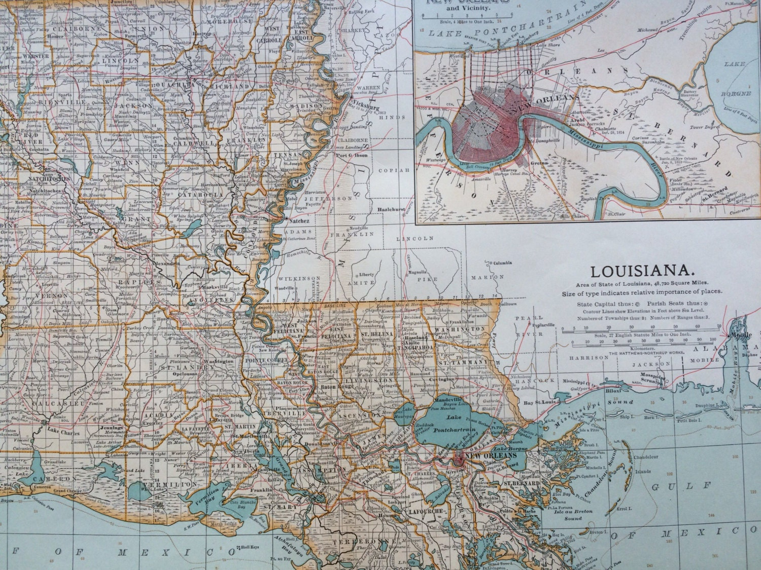 Large Us State Map.1903 Louisiana Original Large Antique Map Us State Map La Wall