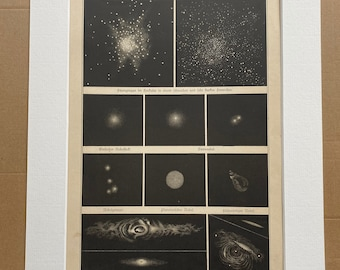 1888 Original Antique Lithograph - Nebulae - Nebula - Star Cluster - Zodiac - Celestial Art - Astronomy - Astrology - Victorian Wall Decor