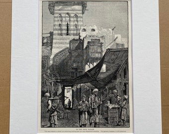 1880 In the Shoe Bazaar, Cairo Original Antique Engraving - Egypt - Mounted and Matted - Available Framed