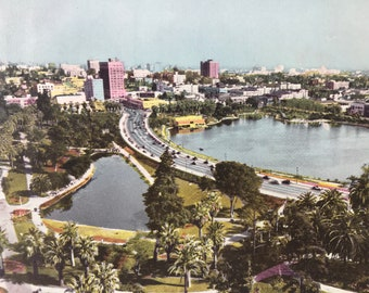 1945 Douglas Macarthur Park and Wilshire Boulevard, Los Angeles Original Vintage Photo Print - California - Retro Decor - Available Framed