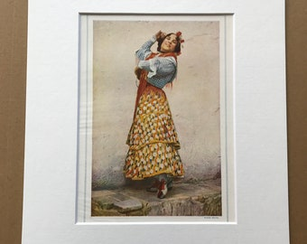 1940s A 'Carmen' of Modern Spain Original Vintage Print - Mounted and Matted - Available Framed