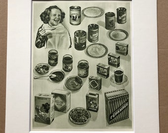 1959 Tinned Food Original Vintage Print - Mounted and Matted - Retro Wall Art - 50s Decor - Children's Food - Available Framed