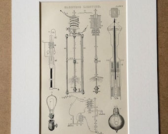 1891 Electric Lighting Original Antique Encyclopaedia Illustration - Lamp - Electricity - Diagram - Available Mounted, Matted and Framed