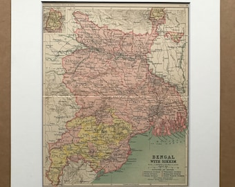 1908 Bengal with Sikkim  Original Antique Map showing Native States, Railways and Canals - Bangladesh - India - Divisions of Bengal