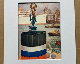 1933 Lowering the 8-Ton Rotor of a Turbine down a Ship's Funnel Original Vintage Print - Machinery - Mounted and Matted - Available Framed