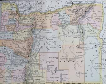 1891 Oregon Original Antique Map - US State - United States - State Map - Vintage Decor - Available Framed