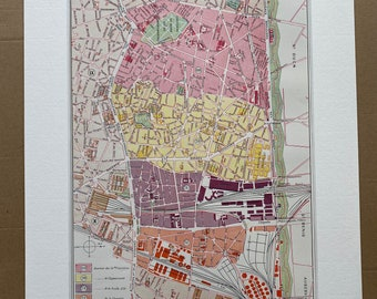 1898 Paris - Dix-Huitieme Arrondissement Original Antique Map - France - Parisian Decor - City Plan - Mounted and Matted - Available Framed
