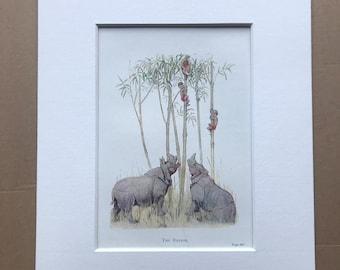 1919 Rhinos Original Vintage Margaret W. Tarrant Illustration - Zoo - Animal Art - Available Framed - Nursery Decor - Children's Book