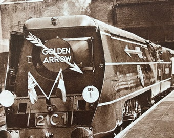 1940s Golden Arrow - Monarchs of the Steel Highway Original Vintage Print - Mounted and Matted - Train  Railway - Available Framed