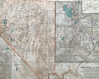 1903 Nevada & Utah Original Large Antique Map - Wall Map - Home Decor - Cartography - 11 x 16 Inches - Detailed Map - Geography