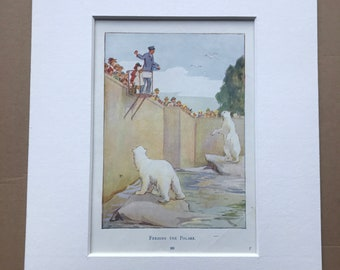 1919 Polar Bears Original Vintage Margaret W. Tarrant Illustration - Animal Art - Available Framed - Nursery Decor - Children's Book