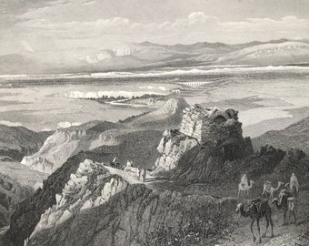 1880 The Plains of Jericho, from the West Original Antique Engraving - Palestine - Jerusalem - Mounted and Matted - Available Framed
