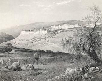 1880 Jerusalem, from Scopus Original Antique Engraving - Israel - Palestine - Landscape - Mounted and Matted - Available Framed