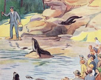 1937 Sea Lion Original Vintage Margaret Tarrant Children's Book Illustration - Nursery Decor - Mounted and Matted - Animal Art