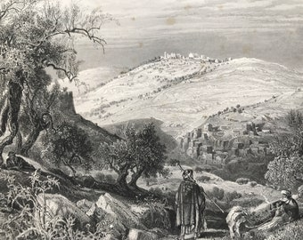 1880 The Mount of Olives, from Mount Zion Original Antique Engraving - Palestine - Jerusalem - Mounted and Matted - Available Framed