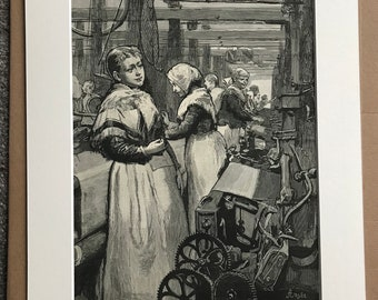 1883 At Work in a Woollen Factory Original Antique Engraving - Mounted and Matted - Victorian Decor