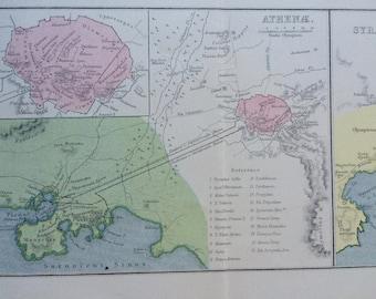 1908 Athenae and Syracuse Original Antique Classical History Map - Greece - Ancient History - Classics