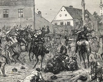 1883 The Riots in Croatia: Hussars Dispersing Rioters at Agram Original Antique Print - Mounted and Matted - Available Framed - Zagreb