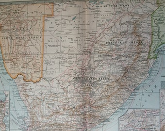 1903 Southern Africa Original Large Antique Map with inset maps of Cape Town, Johannesburg and Ladysmith - Cape Colony - South Africa